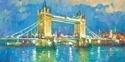 Tower Bridge Lights I by Helios -  sized 16x8 inches. Available from Whitewall Galleries